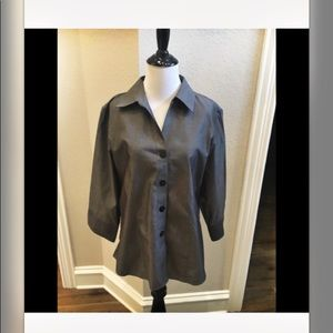 Foxcroft non iron charcoal fitted blouse